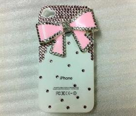New Bling Crystal Pink Bow Pink Rhinestones White iPhone Case