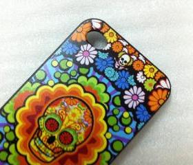 New Chic Colorful Skull And Flowers iPhone 5 Case